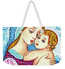 Weekender Tote Bag featuring the painting Madonna And Child In Blue by Eva Campbell