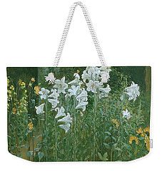 Madonna Lilies In A Garden Weekender Tote Bag by Walter Crane