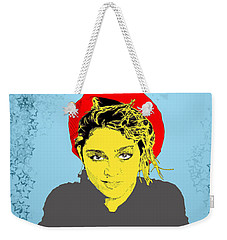 Weekender Tote Bag featuring the drawing Madonna On Blue by Jason Tricktop Matthews