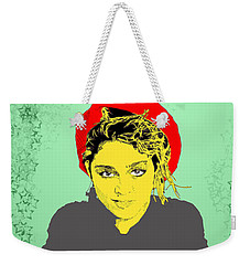 Weekender Tote Bag featuring the drawing Madonna On Green by Jason Tricktop Matthews