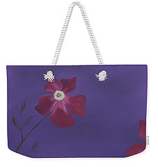 Magenta Flower On Plum Background Weekender Tote Bag