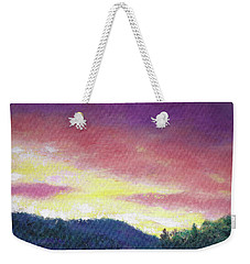 Weekender Tote Bag featuring the painting Magenta Sunset Oil Landscape by Judith Cheng