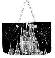 Magic Kingdom Castle In Black And White With Fireworks Walt Disney World Mp Weekender Tote Bag