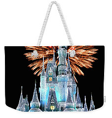 Magic Kingdom Castle In Frosty Light Blue With Fireworks 02 Mp Weekender Tote Bag