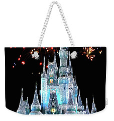 Magic Kingdom Castle In Frosty Light Blue With Fireworks 03 Mp Weekender Tote Bag