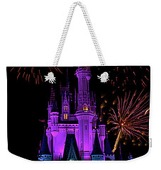 Magic Kingdom Castle In Purple With Fireworks 02 Pm Weekender Tote Bag