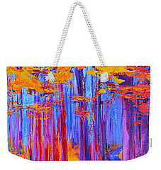 Weekender Tote Bag featuring the painting Magical Path - Enchanted Forest Collection - Modern Impressionist Landscape Art - Palette Knife Work by Patricia Awapara