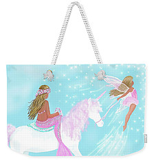 Weekender Tote Bag featuring the painting Magical Play Day by Leslie Allen