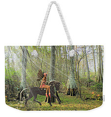 Weekender Tote Bag featuring the mixed media Magical Woods by Rosalie Scanlon