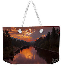 Magnificent Clouds Over Rogue River Oregon At Sunset  Weekender Tote Bag by Jerry Cowart
