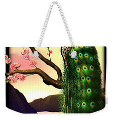 Magnificent Peacock On Plum Tree In Blossom Weekender Tote Bag