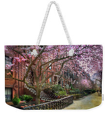 Weekender Tote Bag featuring the photograph Magnolia Trees In Spring - Back Bay Boston by Joann Vitali
