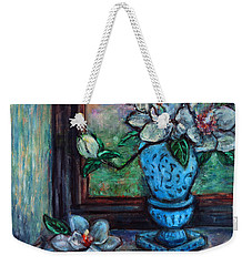 Weekender Tote Bag featuring the painting Magnolias In A Blue Vase By The Window by Xueling Zou