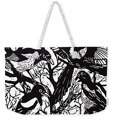 Magpies Weekender Tote Bag by Nat Morley