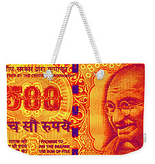 Weekender Tote Bag featuring the digital art Mahatma Gandhi 500 Rupees Banknote by Jean luc Comperat