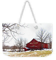 Weekender Tote Bag featuring the photograph Mail Pouch Tobacco Barn by Trina Ansel