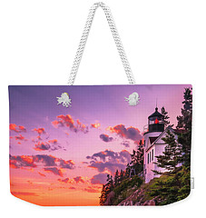 Weekender Tote Bag featuring the photograph Maine Bass Harbor Lighthouse Sunset by Ranjay Mitra
