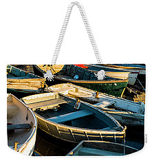 Weekender Tote Bag featuring the photograph Maine Boats At Sunset by Ranjay Mitra
