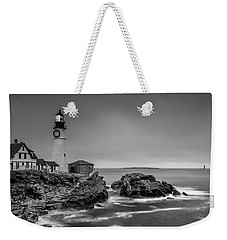Weekender Tote Bag featuring the photograph Maine Cape Elizabeth Lighthouse Aka Portland Headlight In Bw by Ranjay Mitra
