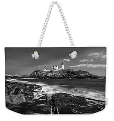 Weekender Tote Bag featuring the photograph Maine Cape Neddick Lighthouse In Bw by Ranjay Mitra