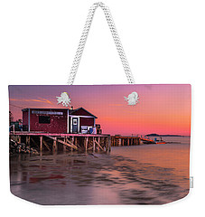 Weekender Tote Bag featuring the photograph Maine Coastal Sunset At Dicks Lobsters - Crabs Shack by Ranjay Mitra