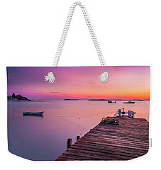 Weekender Tote Bag featuring the photograph Maine Cooks Corner Lobster Shack At Sunset by Ranjay Mitra