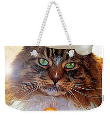 Weekender Tote Bag featuring the photograph Maine Coon Xmas by Roger Bester