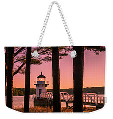 Maine Doubling Point Lighthouse At Sunset Panorama Weekender Tote Bag