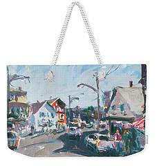 Weekender Tote Bag featuring the painting Maine Landscape Art by Robert Joyner