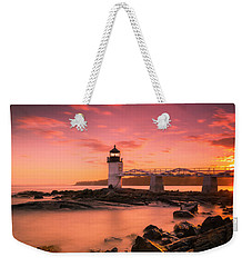 Maine Lighthouse Marshall Point At Sunset Weekender Tote Bag