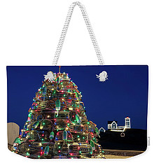 Weekender Tote Bag featuring the photograph Maine Lobsta Trap Nubble Christmas by Richard Bean