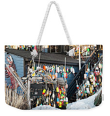 Weekender Tote Bag featuring the photograph Maine Lobster Shack In Winter by Ranjay Mitra