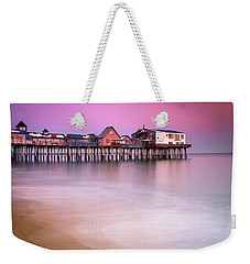 Weekender Tote Bag featuring the photograph Maine Old Orchard Beach Pier Sunset  by Ranjay Mitra