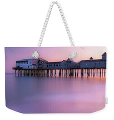 Maine Oob Pier At Sunset Panorama Weekender Tote Bag