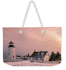 Maine Pemaquid Lighthouse After Winter Snow Storm Weekender Tote Bag by Ranjay Mitra