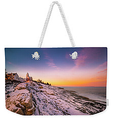 Weekender Tote Bag featuring the photograph Maine Pemaquid Lighthouse In Winter Snow by Ranjay Mitra