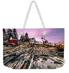 Weekender Tote Bag featuring the photograph Maine Pemaquid Lighthouse Reflection In Summer by Ranjay Mitra