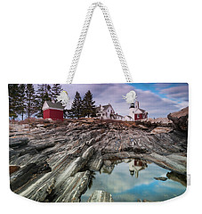 Maine Pemaquid Lighthouse Reflection Weekender Tote Bag by Ranjay Mitra