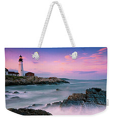 Maine Portland Headlight Lighthouse At Sunset Panorama Weekender Tote Bag by Ranjay Mitra