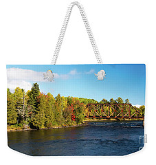 Weekender Tote Bag featuring the photograph Maine Rail Line by Sandy Molinaro