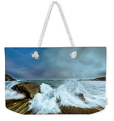 Maine Rocky Coast During Storm At Two Lights Weekender Tote Bag by Ranjay Mitra