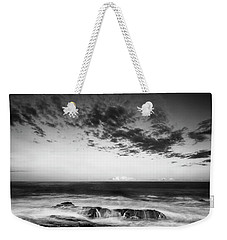 Maine Rocky Coast With Boulders And Clouds At Two Lights Park Weekender Tote Bag