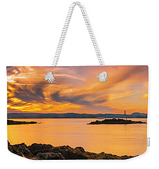 Maine Rocky Coastal Sunset In Penobscot Bay Panorama Weekender Tote Bag