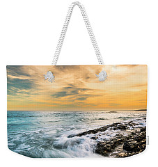 Weekender Tote Bag featuring the photograph Maine Rocky Coastal Sunset by Ranjay Mitra