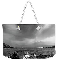 Maine Storm Clouds And Crashing Waves On Rocky Coast Weekender Tote Bag by Ranjay Mitra