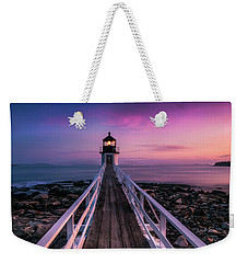 Weekender Tote Bag featuring the photograph Maine Sunset At Marshall Point Lighthouse by Ranjay Mitra