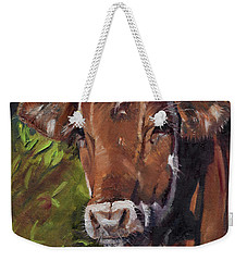 Weekender Tote Bag featuring the painting Maisy The Cow- Brown Cow - Moo by Jan Dappen