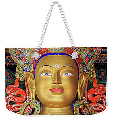 Weekender Tote Bag featuring the photograph Maitreya Buddha Statue by Alexey Stiop