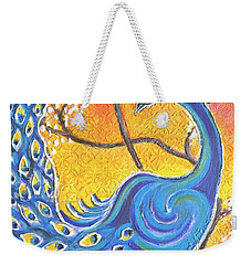 Majestic Peacock Colorful Textured Art Weekender Tote Bag
