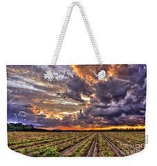 Weekender Tote Bag featuring the photograph Majestic Peanut Harvest Sunset Art by Reid Callaway